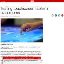 Testing touchscreen tables in classrooms