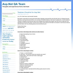 Testplan Checklist for Asp.Net - Asp.Net QA Team