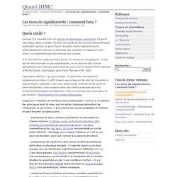 Les tests de significativité : comment faire ? - Quanti IHMC