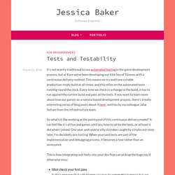 Tests and Testability – Jessica Baker