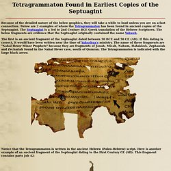 Tetragrammaton Found in Ancient Septuagint Manuscripts