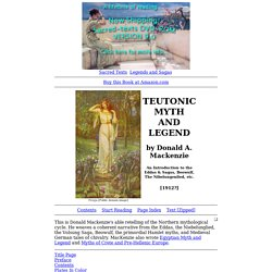Teutonic Myth and Legend Index