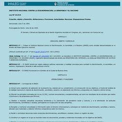 Ley Nº 24.515 Instituto Nacional contra la discriminación, la xenofobia y el racismo