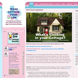 Texas Cottage Food Law: Home Page