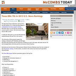 Texas BBA 7th in 2013 U.S. News Rankings