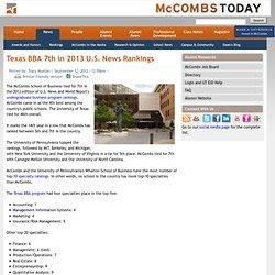 Texas BBA 7th in 2013 U.S. News Rankings