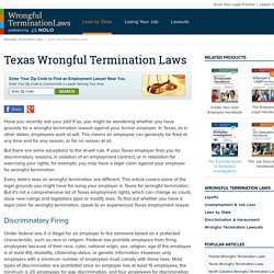 Texas Wrongful Termination Laws