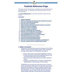 Texbirds Reference Page