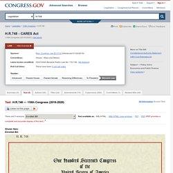 Text - H.R.748 - 116th Congress (2019-2020): CARES Act
