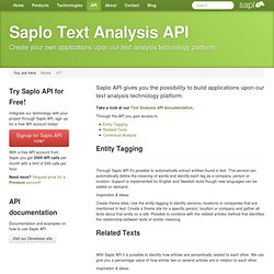 Text Analysis API | Saplo