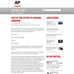 Text of the letter to Edward Snowden
