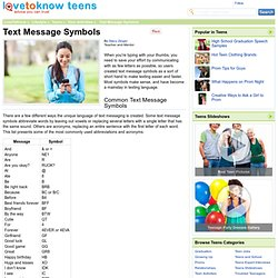 Text Message Acronyms - LoveToKnow Teens