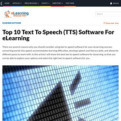 Top 10 Text To Speech (TTS) Software For eLearning