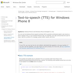Text-to-speech (TTS) for Windows Phone 8
