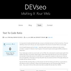 Text To Code Ratio :: Website Development and SEO