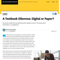 A Textbook Dilemma: Digital or Paper?