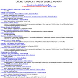 ONLINE SCIENCE AND MATH TEXTBOOKS Page of NeuraLinksPlus by Prof. Mark Dubin