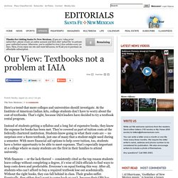 Our View: Textbooks not a problem at IAIA - The Santa Fe New Mexican: Editorials