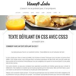Texte défilant en css avec CSS3 - Viaxoft Labs