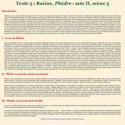 Texte 5 : Racine, Phèdre : acte II, scène 5