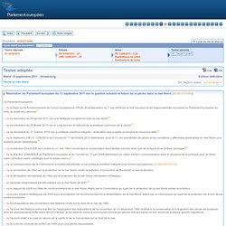 PARLEMENT EUROPEEN 13/09/11 Résolution du Parlement européen du 13 septembre 2011 sur la gestion actuelle et future de la pêche