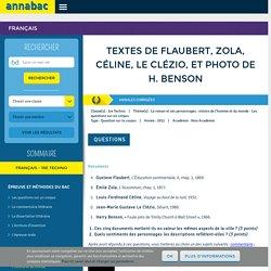 Textes de Flaubert, Zola, Céline, Le Clézio, et photo de H. Benson