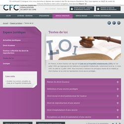 Textes de loi - CFC, gestion des droits d'auteur