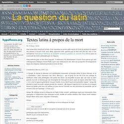 Textes latins à propos de la mort