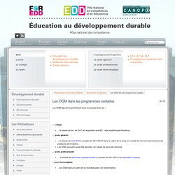 EDD : les textes - Les OGM dans les programmes scolaires
