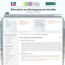 EDD : les textes - Climat - Rapports et autres textes officiels