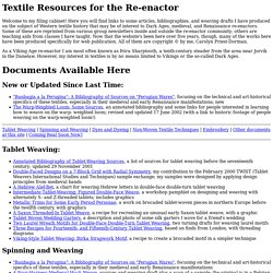 Textile Resources for the Re-enactor