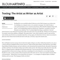 Texting: The Artist as Writer as Artist