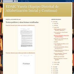 EDAIC Varela (Equipo Distrital de Alfabetización Inicial y Continua): Textos poéticos y otras formas versificadas