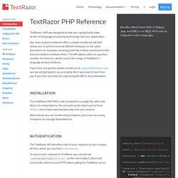 TextRazor - PHP API Documentation