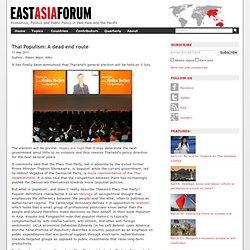 Thai Populism: A dead end route