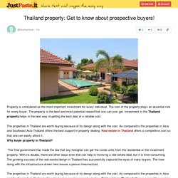 Thailand property: Get to know about prospective buyers!