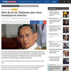 Mort du roi de Thaïlande, plus vieux monarque en exercice