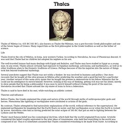an introduction to the life and works of thales of miletus Thales definition referring to the fact that none of the works of thales is extant mathematician, and astronomer, born in miletus.