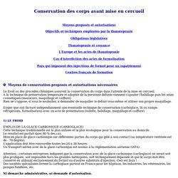 Pompes funèbres, LA THANATOPRAXIE, FORMOLISATION, SOINS DE CONSERVATION ET DE PRESENTATION