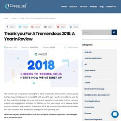 Thank you For A Tremendous 2018: A Year In Review