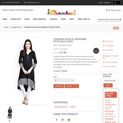 THANKAR BLACK DESIGNER STITCHED KURTI - Thankar