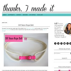 TIMI Elsewhere: Rope Belt DIY for M&J