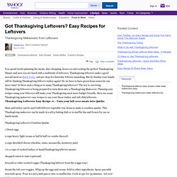 Got Thanksgiving Leftovers? Easy Recipes for Leftovers