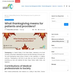 What thanksgiving means for patients and providers?