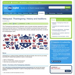 Webquest: Thanksgiving: History and traditions