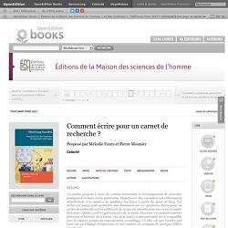 THATCamp Paris 2012 - Comment écrire pour un carnet de recherche?