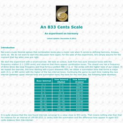 The 833 Cents Scale