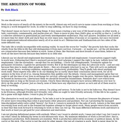 THE ABOLITION OF WORK by Bob Black