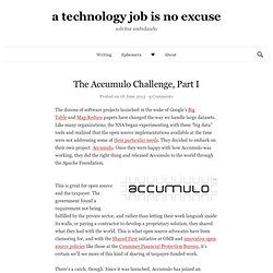 The Accumulo Challenge, Part I | a technology job is no excuse