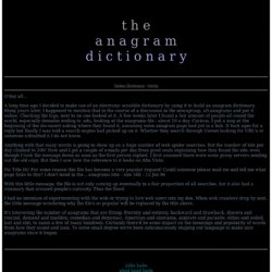 The Anagram Dictionary - StumbleUpon